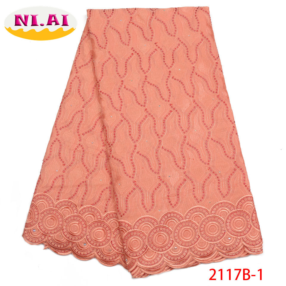 Beautiful Fashion African Cotton Lace Fabric High Quality Swiss Voile Lace Fabric Latest Dry Lace Fabric For Party Dress NA2117B