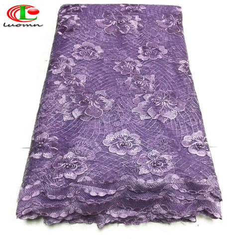 Image of Best Selling Swiss voile laces African Lace Fabric Lilac colour Nigerian French Fabric 2019 High Quality Nigeria Tulle cord Lace