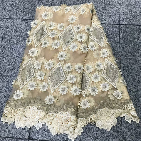 Image of Best Selling Water Soluble Lace Guipure Cord Lace Tulle Lace Fabric With Beads/Stones For Accessories Wedding Clothing NLY38-3