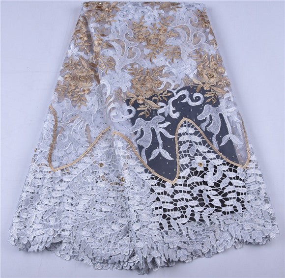 Best Selling Women Dress Guipure Cord Lace Fabric High Quality Embroidered Fabric DIY Trim Sewing African Lace Fabric A1651