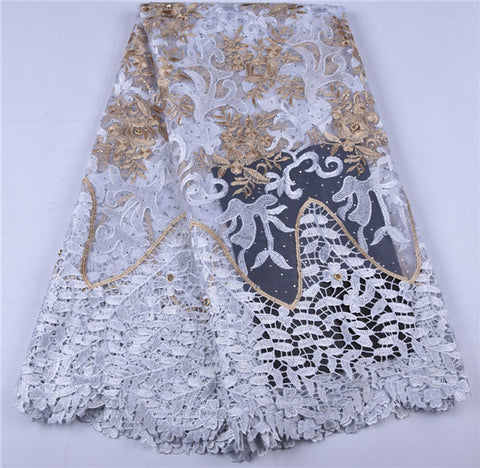 Image of Best Selling Women Dress Guipure Cord Lace Fabric High Quality Embroidered Fabric DIY Trim Sewing African Lace Fabric A1651