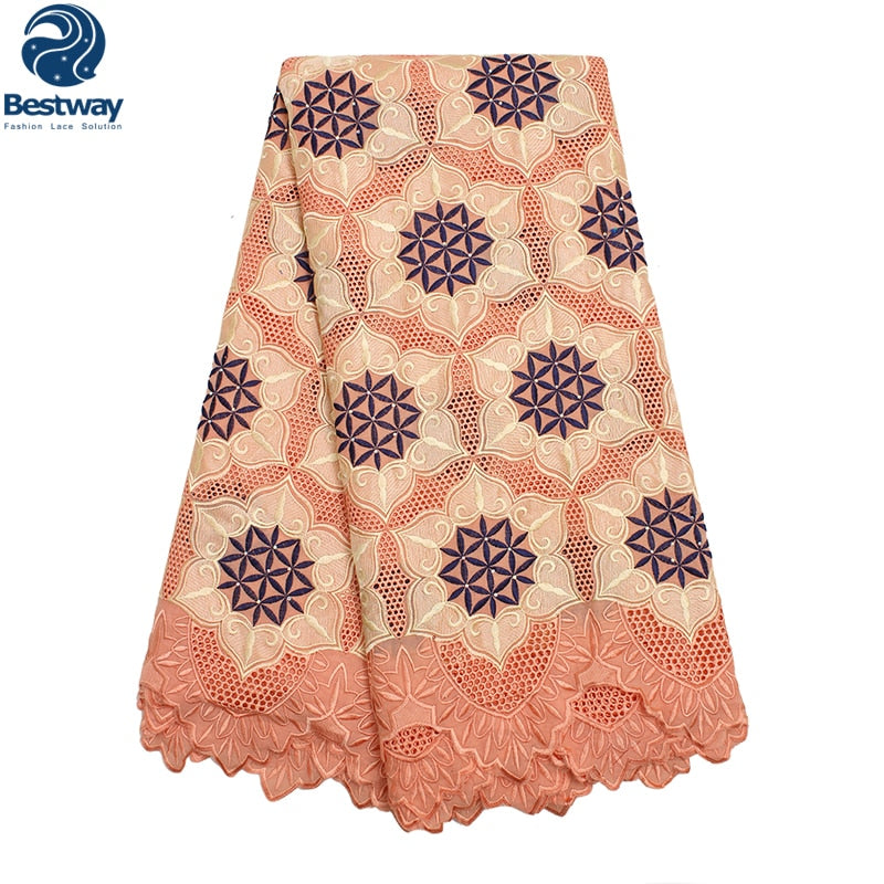 Bestway African Embroidered Flower Eyelet Swiss Voile Lace Fabric In Switzerland Peach Mix Royal Blue Lace Fabric Nigerian Lace