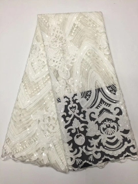 Black Sequin Lace Fabric 4.5*1.35meters 2017 African Lace fabric with Sequins High Quality white Sequin Fabric for dresses D2069