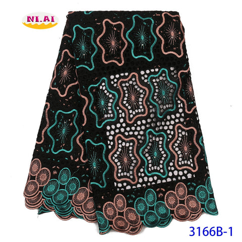 Image of Black Silk Milk French Lace Fabric 2020 High Quality African Lace Hot Sale Embroidery Nigeria Mesh Lace Fabric 5yards NA3166B-3