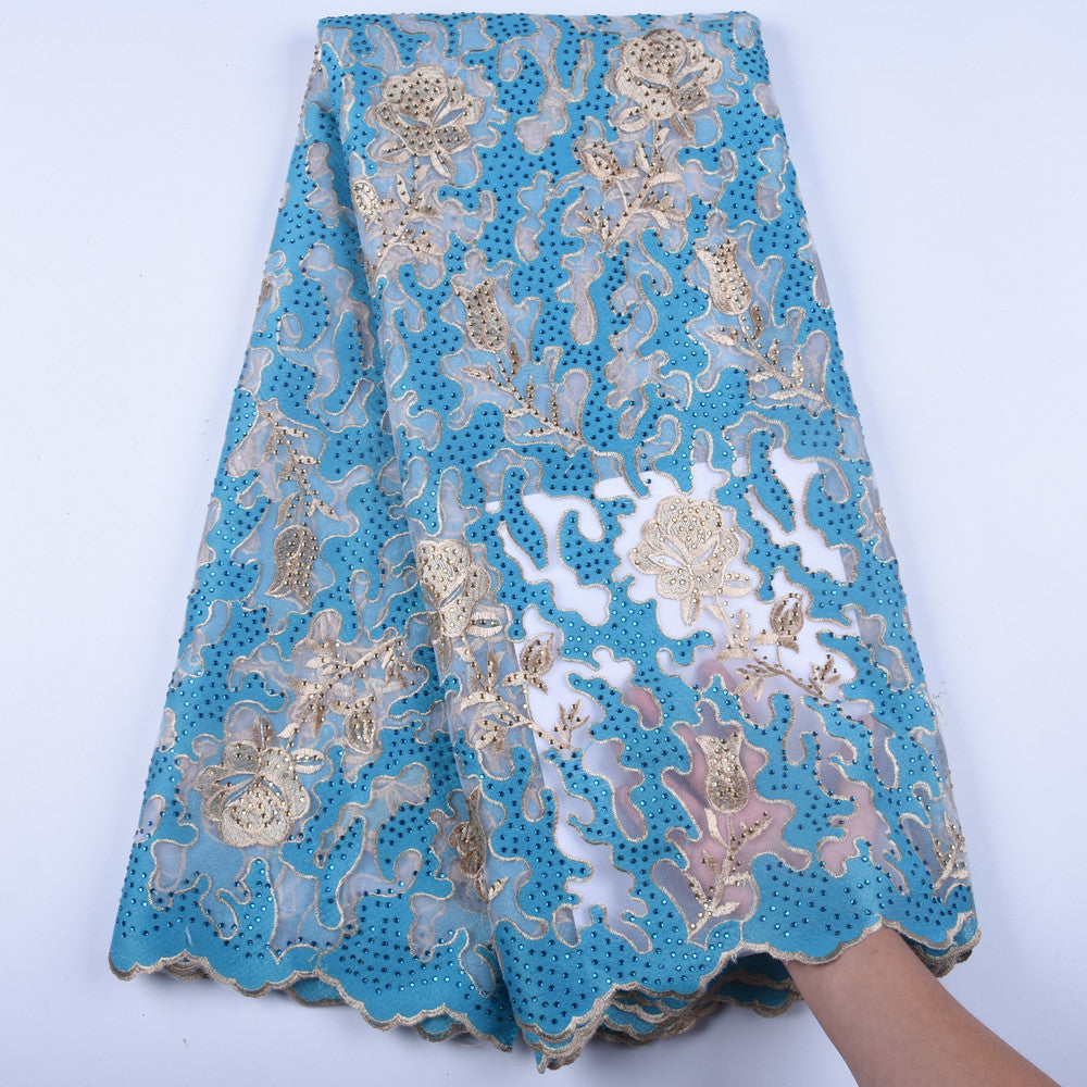 High Quality Net African Nigeria Lace Fabrics Tulle French Lace Gold Line Dress