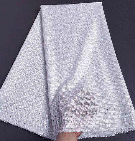 Image of Breathable soft embroidery plain white Polish cotton lace African Swiss voile Lace fabric has no holes 5 yards 7152 Wise choice