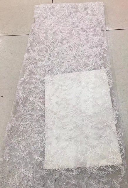 Bridal French Lace Fabric Beaded African Tulle Lace Fabric 5 Yards Per Lot Net Lace Fabric for Dress ALC-J016