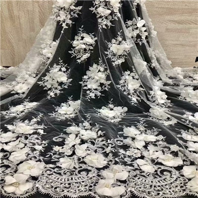 Image of Bridal Nigerian Wedding Lace Materials 3D Lace Fabric High Quality 2018 African Lace Fabric On Sale Beads Lace Fabric H1268