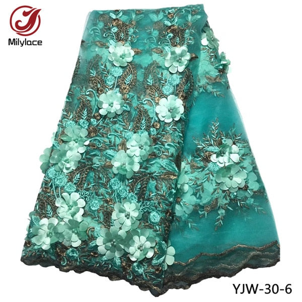Bridal french lace fabric beaded african tulle lace fabric 5 yards per lot net lace fabric for dress YJW-30