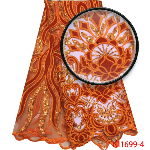 Burnt Orange French NigerianTulle Lace New Fashion Sequins Lace Fabrics High Quality Velvet Lace for Wedding Party Dress NI1699