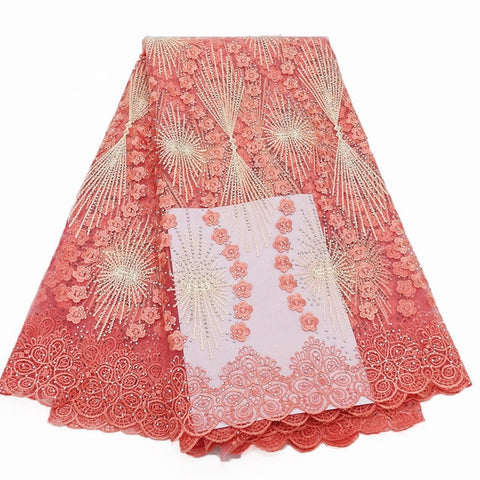 Image of CS-New Top Arrival high quality african cord lace fabric,chemical lace water soluble guipure lace fabric for wedding Dress