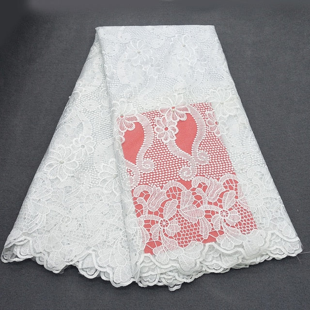 CS-New Top Arrival high quality african cord lace fabric,chemical lace water soluble guipure lace fabric for wedding Dress