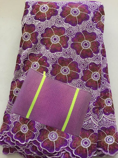Image of CXLL3293  embroidered African cotton voile lace fabric with stones matching Aso Oke Full length headtie gele Headwrap