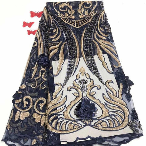 Image of Cassiel Newest African Sequins+Beads Lace Fabric French Lace Fabric 2019 High Quality Material Nigerian Lace Fabric For Dress