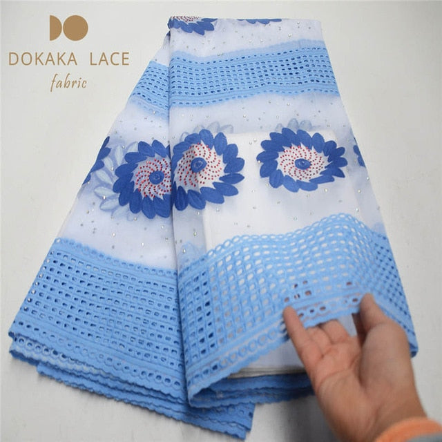 Classical Chiffon Flower Rhinestones Design Indian Net Lace Fabric With Shining Stones Guinea Laces For Wedding Party Sewing