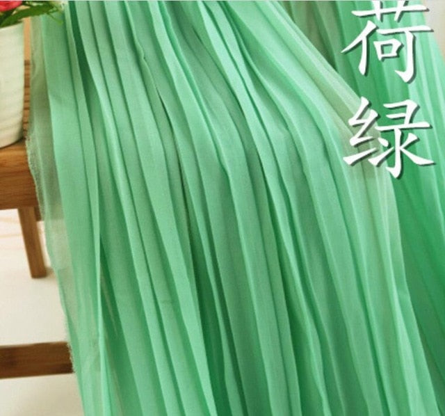 Dress fabric Pleated chiffon fabric solid Organ Crushed soft breathable DIY skirt fabric  bazin riche getzner