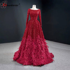 Dubai Red Sexy A-Line Luxury Evening Dresses 2020 Long Sleeves Sequins Feathers Formal Party Gowns