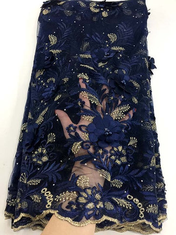 Image of Dubai Wholesale High Quality Latest Mesh African Lace Fabrics 2018 Navy blue French Textile Lace Fabric For Garment Dress