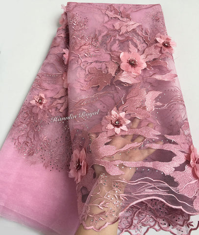 Image of Dusty pink bridal french lace African tulle lace fabric High grade classic sewing material for big occasions 5 yards /PC 7481