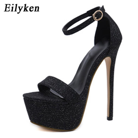 Image of Eilyken Summer Peep-toe Gladiator Women Sandals Buckle Strap Open The Toe Sandals Thick Heel Fashion Sexy High Heels Club Shoes