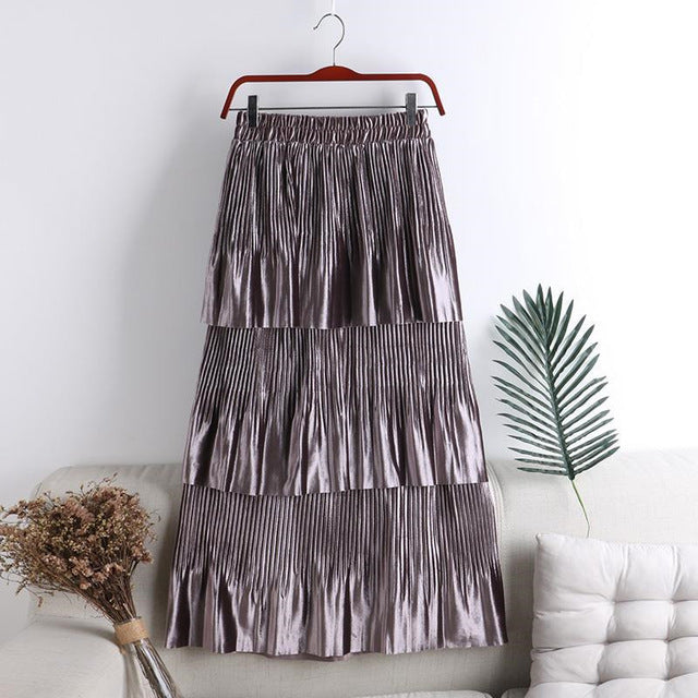 Elegant Autumn Winter Long Velvet Skirt Women Korean Style 3 Layer Ruffles Skirts Female High Waist Maxi Skirt Jupe Faldas Saias