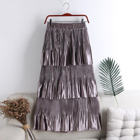 Image of Elegant Autumn Winter Long Velvet Skirt Women Korean Style 3 Layer Ruffles Skirts Female High Waist Maxi Skirt Jupe Faldas Saias