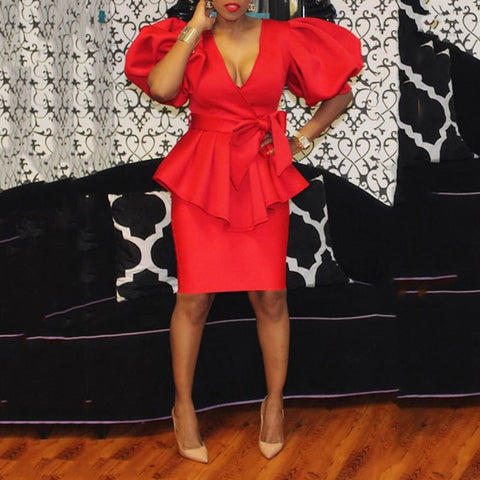 Image of Elegant Ruffles Bodycon Party Dress Women Two Piece Sets Office Ladies Half Sleeve Skirt Dinner Suits Plus Size 2XL Red