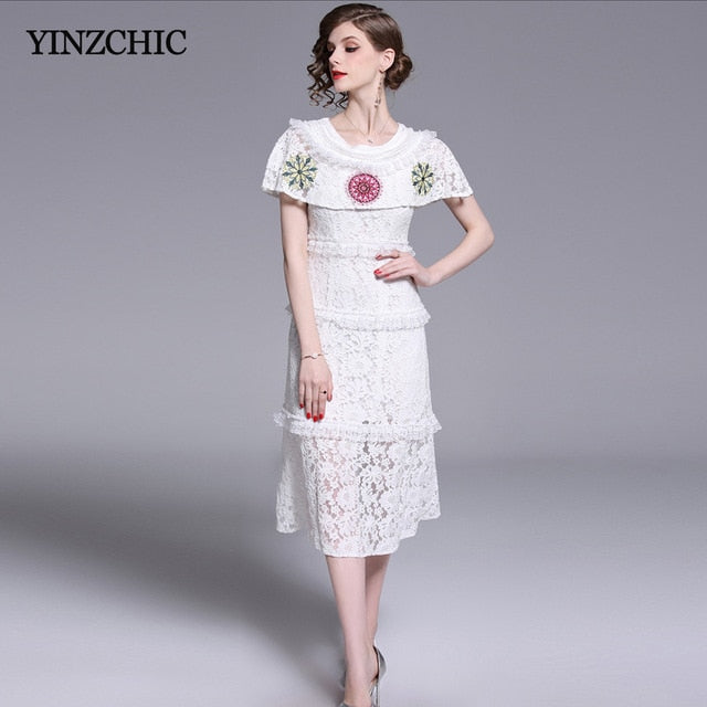 4233fe5353f6 Elegant Womans Summer Lace Dress Floral Embroidery Ladies Party ...