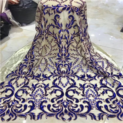 Embroidered Tulle Sequins Lace Fabric,blue, red Latest African Tulle Lace Fabrics High Quality 2019 Purple gold wine H1529