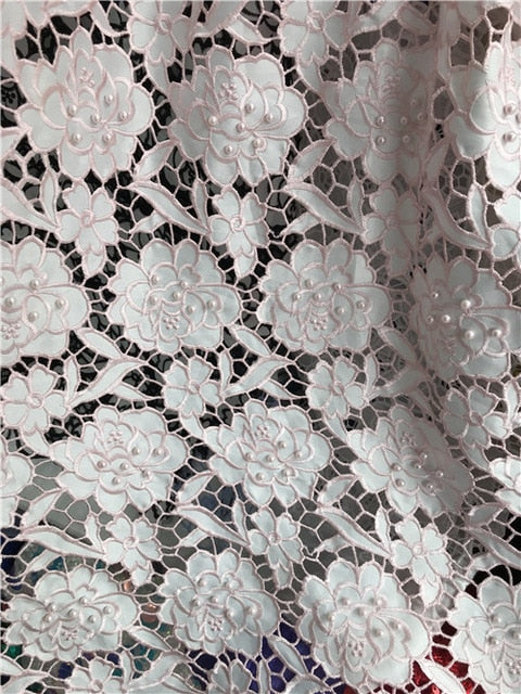Embroidery African French Lace Fabric High Quality Beaded Tulle Lace Fabric,2018 French Lace Fabric For Wedding