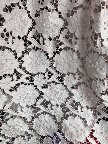 Image of Embroidery African French Lace Fabric High Quality Beaded Tulle Lace Fabric,2018 French Lace Fabric For Wedding