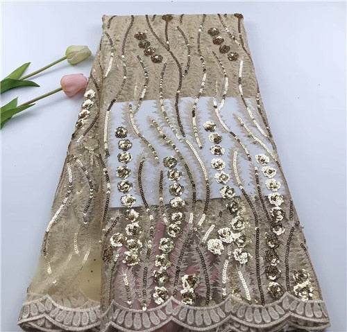 Embroidery NET tulle  Lace with Sequins  African French Tulle Mesh Lace Fabric Sequins Lace Fabric for party dress   HUASIJUL151