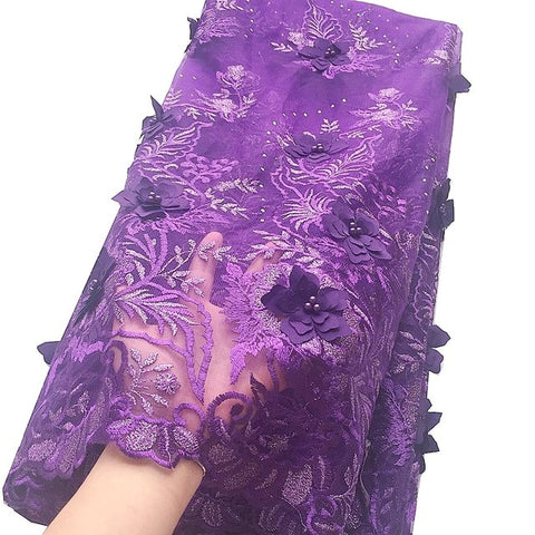 Image of Expensive African Lace Fabric 2020 with Beads Nigerian Lace Fabric 5 yards Embroidered Appliqued Net 3d Lace Fabric for Wedding