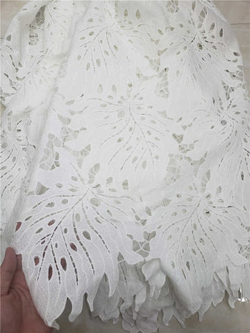 Factory price African Cord Lace Fabric High Quality guipure lace fabric For Party Dresses In white 5yds/pcs