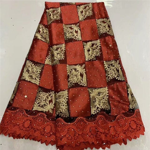 Image of Fashion African Lace Fabric High Quality African 3D Lace Fabric With Sequins For Nigerian Wedding Dress French Lace Fabric WD111