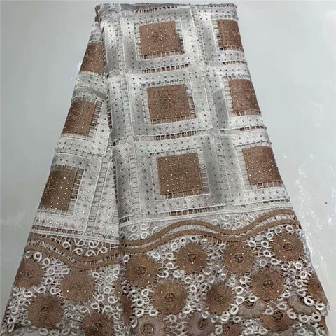 Image of Fashion African Lace Fabric High Quality African 3D Lace Fabric With Sequins For Nigerian Wedding Dress French Lace Fabric WD115