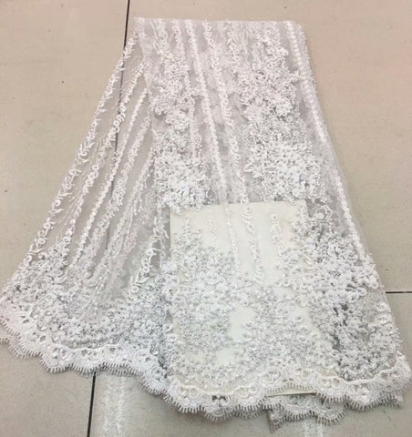 Image of Fashion African Lace Fabric High Quality Pink Lace Nigerian Lace Fabric 2018 High Quality Lace With Beaded 5yards RF475