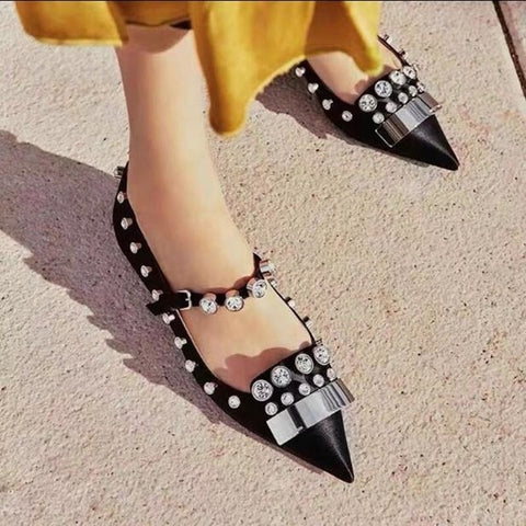 Image of Fashion Black Pink Satin Flat Shoes Metal Studded Decoration Ballet Flats Mary Janes Leisure Shoes Drop Ship