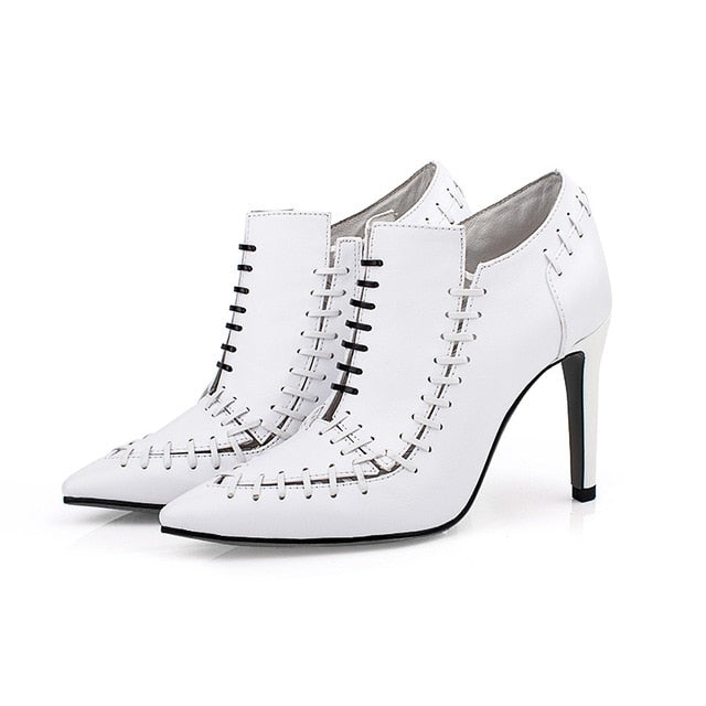 Fashion Cross Slip On White Pumps Sexy Gladiator High Heels Pumps Spring Autumn Runway Wedding Strip Shoes Women Chaussures 2019