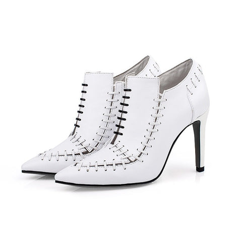 Image of Fashion Cross Slip On White Pumps Sexy Gladiator High Heels Pumps Spring Autumn Runway Wedding Strip Shoes Women Chaussures 2019