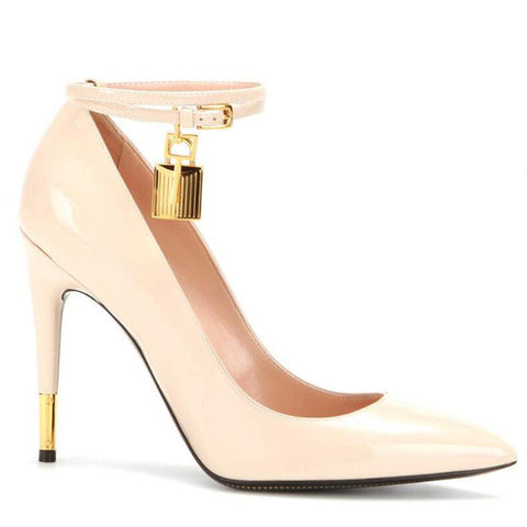 Image of Fashion Design Gold Lock Snake Prints Pumps Pointed Toe Ankle Strap Thin High Heels Dress Party Strip Shoes Women Zapatos 2019