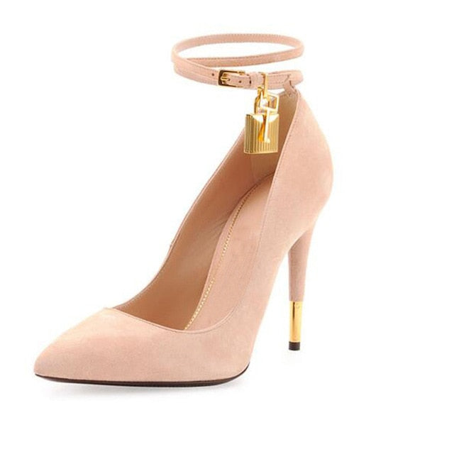 Fashion Design Gold Lock Snake Prints Pumps Pointed Toe Ankle Strap Thin High Heels Dress Party Strip Shoes Women Zapatos 2019