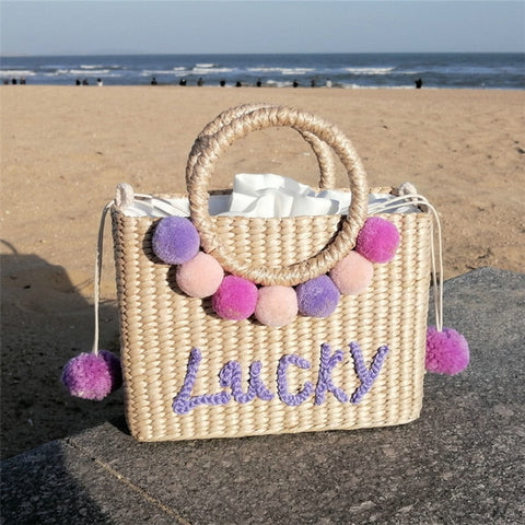 Image of Fashion Flower Straw Shoulder Bag Women Retro Hand-Woven Totes Messengr Bag Lady Summer Handbag Travel Beach Handbag Casual Bags
