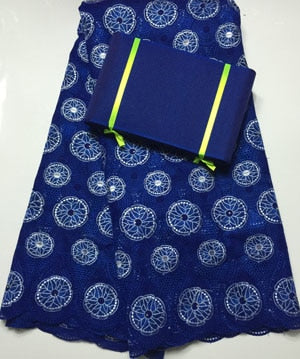 Free Shipping !!! high quality african swiss voile lace matching aso oke headtie / fabric for wedding dress lace  NAX017 BLUE