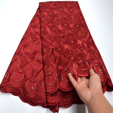 Image of Free Shipping wine red High quality wedding lace African Fabric 5 Yards Cotton Swiss Voile Lace-NB0125