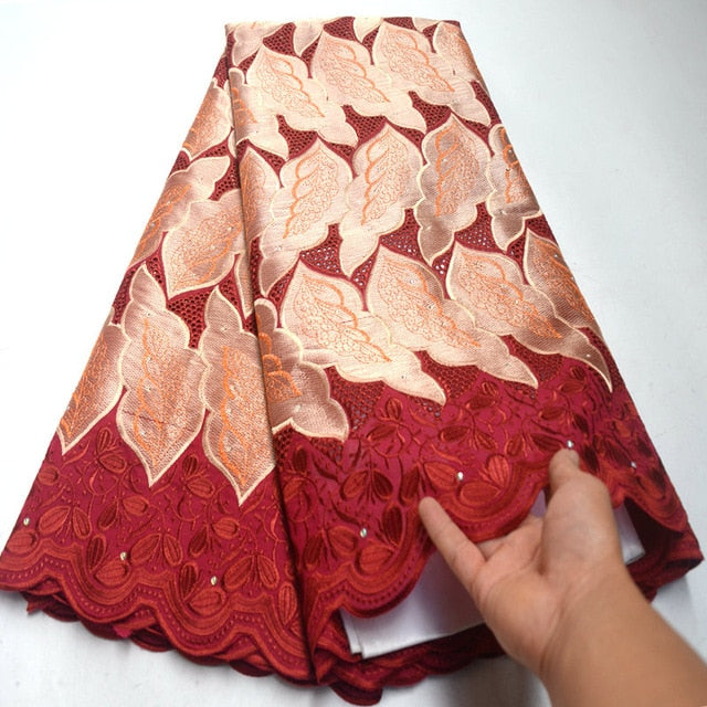 Free Shipping wine red High quality wedding lace African Fabric 5 Yards Cotton Swiss Voile Lace-NB0125