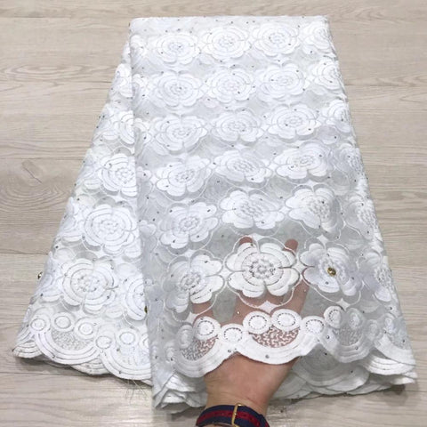 Image of Free shipping 2019 High Quality white applique stone African tulle mesh lace fabric for wedding dress Africa guipure lace fabric