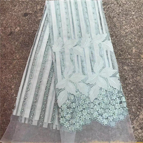 Image of French Lace Fabric high quality african lace fabric 2018 latest african 3d beads lace for sew nigeria guipure lace fabric