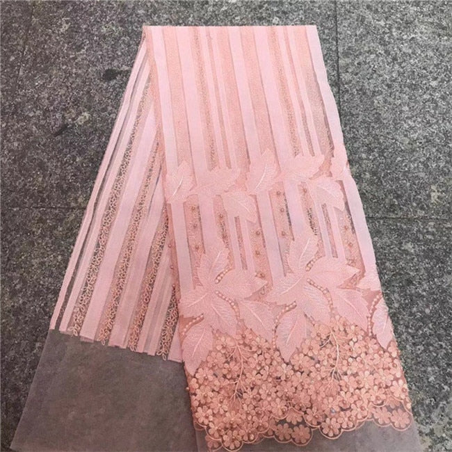 French Lace Fabric high quality african lace fabric 2018 latest african 3d beads lace for sew nigeria guipure lace fabric