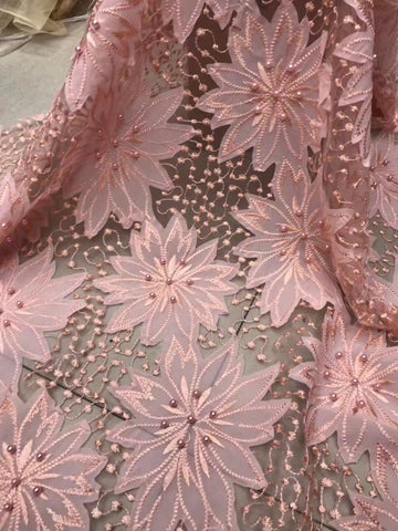 Image of French Lace Wedding Dress Fabric 2017 French Lace With Beads Embroidered Latest African Lace With Stones For Women